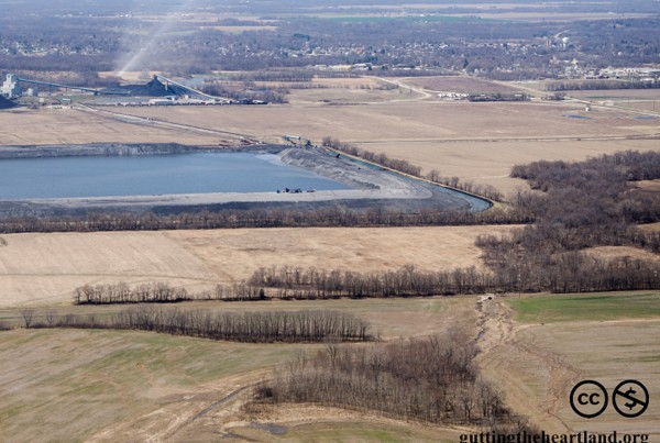 The proposed toxic coal waste impoundment will be nearly twice the size of the existing one pictured here.